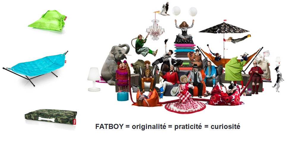 ox literie fabrbicant matelas toulouse collection marque FATBOY gamme de poufs colorés, lampes gigantesques,hamacs magiques, coussins pour chien et chandeliers d'extérieur